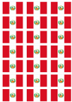 Peru Flag Stickers - 21 per sheet